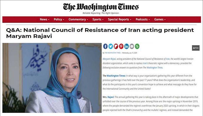 مصاحبه واشنگتن تایمز با رئیسجمهور برگزیده شورای ملی مقاومت ایران مریم رجوی