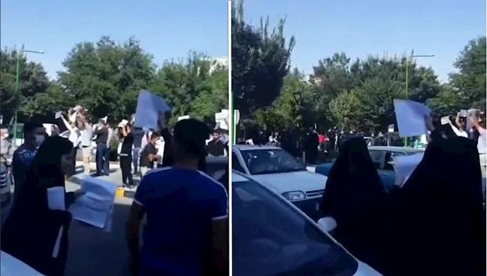 تجمع بستگان زندانیان محکوم به اعدام قیام سال ۹۶ مقابل دادگستری رژیم در اصفهان