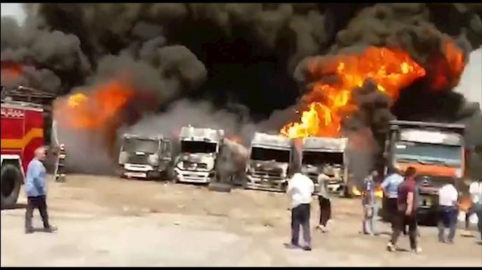 انفجار مخازن و کامیون های حامل سوخت در دولت آباد کرمانشاه