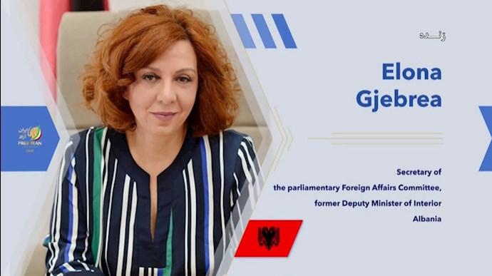 ایلونا جبریا دبیر کمیته روابط خارجی پارلمان آلبانی، معاون پیشین وزیر کشور - کنفرانس بینالمللی درباره تروریسم رژیم آخوندی