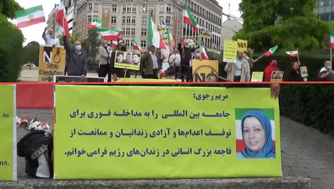بروکسل : تظاهرات علیه صدور احکام جنایتکارانه اعدام برای دستگیر شدگان قیام آبان ۹۸