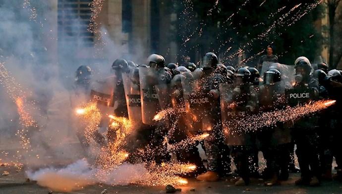 درگیری و تظاهرات قیام کنندگان لبنان