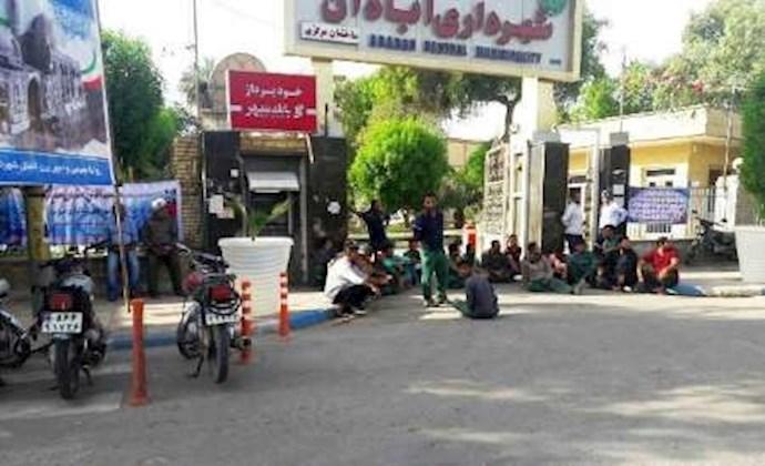 -آبادان.تجمع اعتراضی کارگران شهرداری آبادان