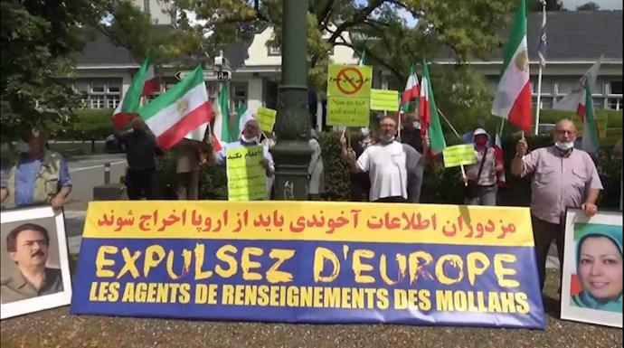 محکومیت تروریزم آخوندها در تظاهرات ایرانیان در بروکسل