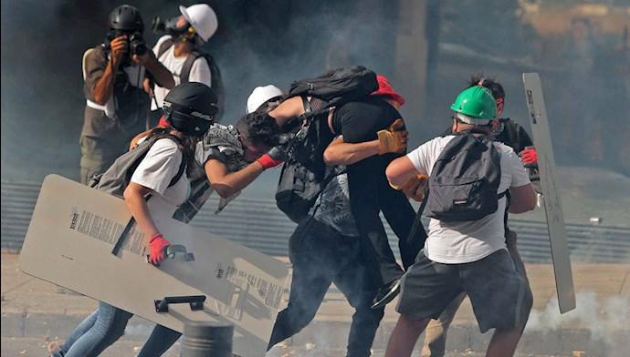 تظاهرات و درگیری مردم و جوانان لبنانی در بیروت ۱۸مرداد۹۹