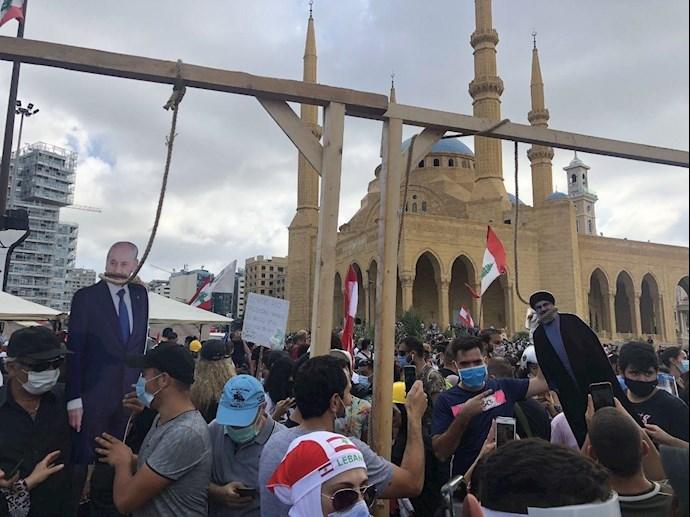 اعدام سمبلیک حسن نصرالله و میشل عون توسط مردم خشمگین بیروت