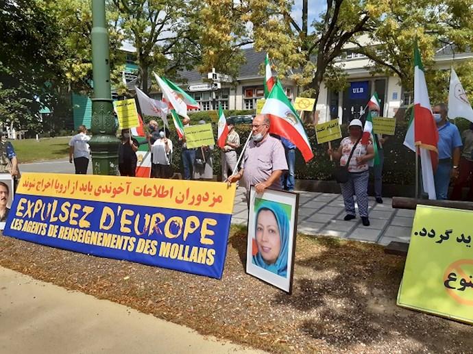 -محکومیت تروریزم آخوندها در تظاهرات ایرانیان در بروکسل
