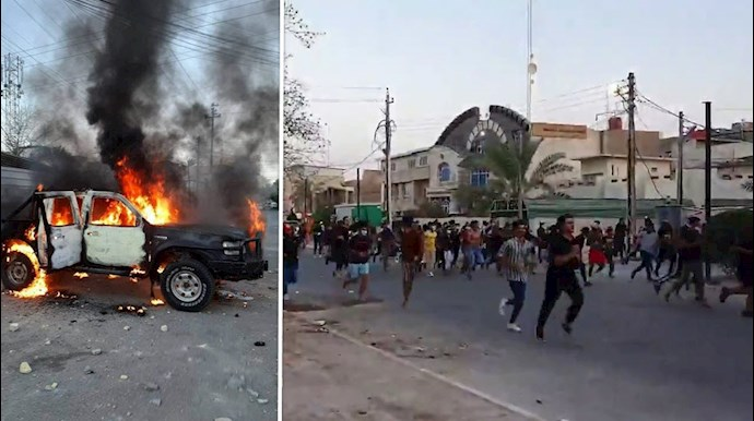 درگیریهای مردم و جوانان بصره با مزدوران  و وحوش خامنهای