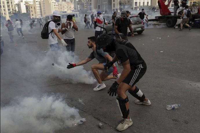تظاهرات و درگیری مردم خشمگین بیروت - 1