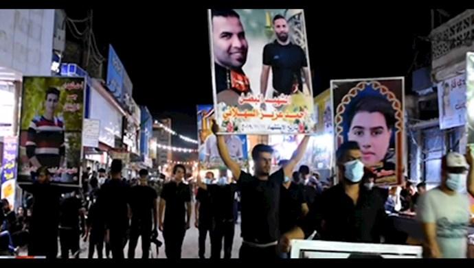 مراسم تاسوعای حسینی توسط جوانان شورشگر عراقی  در شهرهای عراق