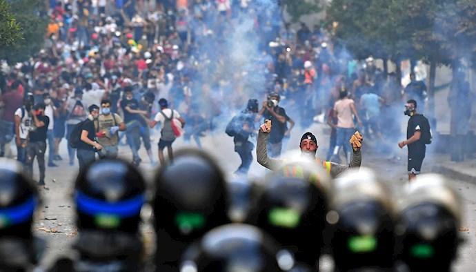 تظاهرات و درگیری مردم  و جوانان لبنان بعد از انفجار بیروت