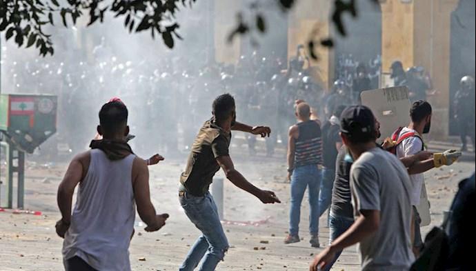 تظاهرات و درگیری مردم و جوانان در بیروت