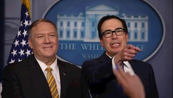 مایک پمپئو و استیون منوچین وزیران خارجه و خزانه داری آمریکا