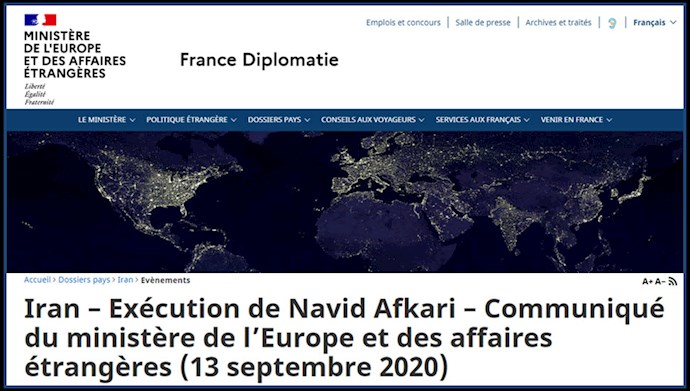 وزارت خارجه فرانسه - محکومیت اعدام نوید افکاری