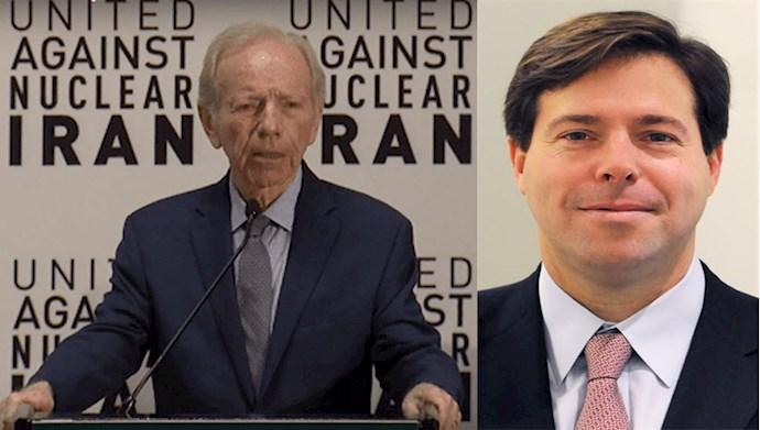 سناتور پیشین جوزف لیبرمن، مدیر سازمان «اتحاد علیه ایران هستهای»، و مارک والاس، مدیر عامل این سازمان