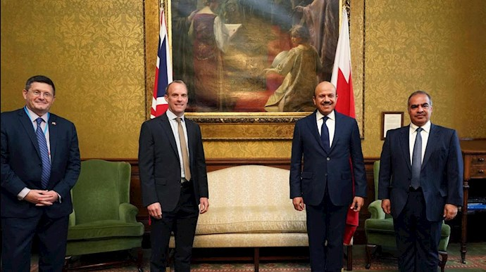 عبدالطیف الزیانی وزیر خارجه جدید بحرین در دیدار  با وزیر خارجه انگلستان