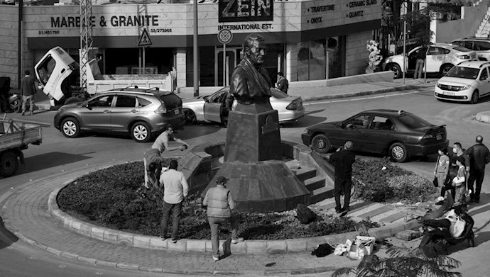خشم و انزجار مردم لبنان نسبت به تندیس دژخیم قاسم سلیمانی