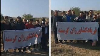 تجمع اعتراضی کشاورزان اطراف ماهشهر