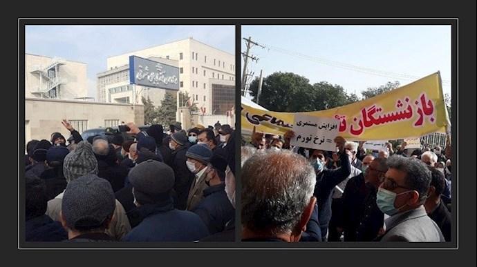 تجمع بازنشستگان در تبریز (سمت چپ) و اهواز (سمت راست) - ۷ بهمن ۱۳۹۹