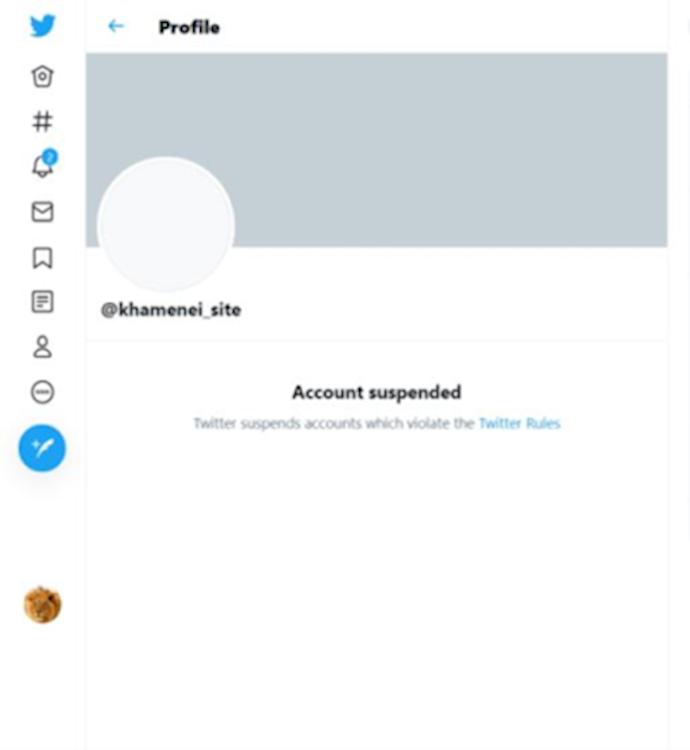 توئیتر یکی از حسابهای خامنهای را بست