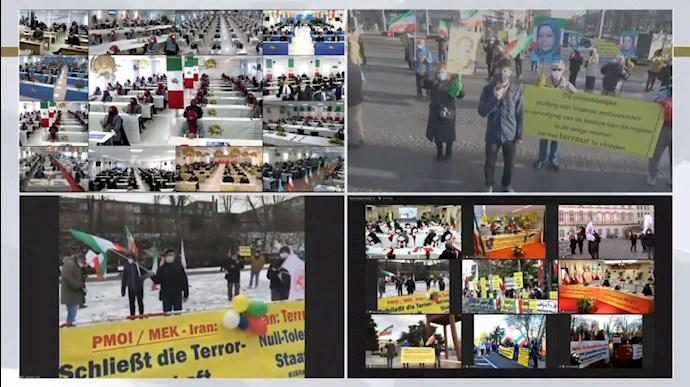 کنفرانس جهانی همزمان با اعلام حکم دادگاه آنتورپ در ارتباط زنده آنلاین با مجاهدین در اشرف۳ - 0