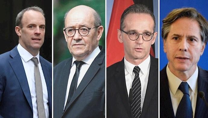 وزیران خارجه سه کشور اروپایی و آمریکا