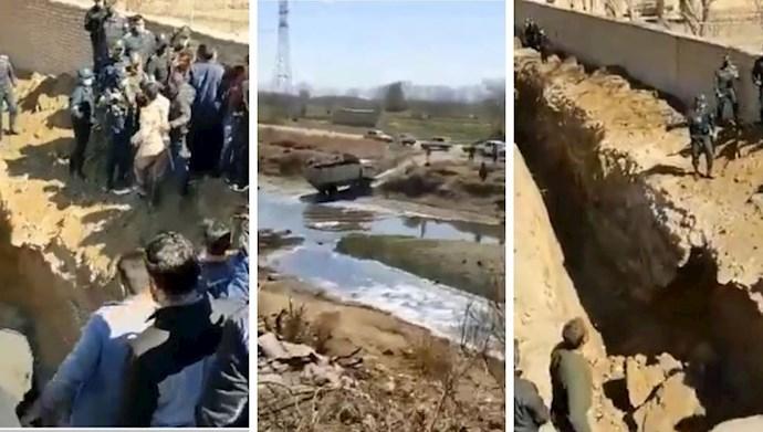 درگیری کشاورزان اصفهان با نیروی انتظامی سرکوبگر