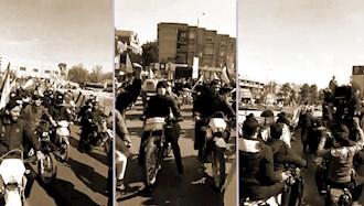 مراسم مبتذل سواره با خودرو و موتور توسط لباس شخصیهای رژیم در ۲۲بهمن