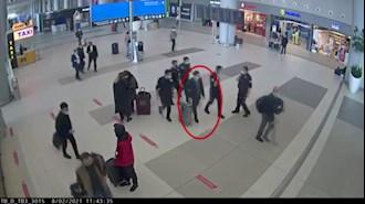 تصاویر دوربین مداربسته از بازداشت محمدرضا ناصرزاده کارمند سفارت رژیم ایران در فرودگاه استانبول