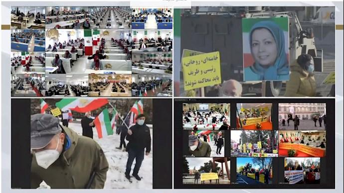 کنفرانس جهانی همزمان با اعلام حکم دادگاه آنتورپ در ارتباط زنده آنلاین با مجاهدین در اشرف۳ - 1