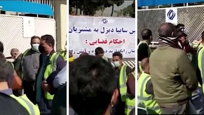 تجمع اعتراضی رانندگان و حوالهداران ولوو