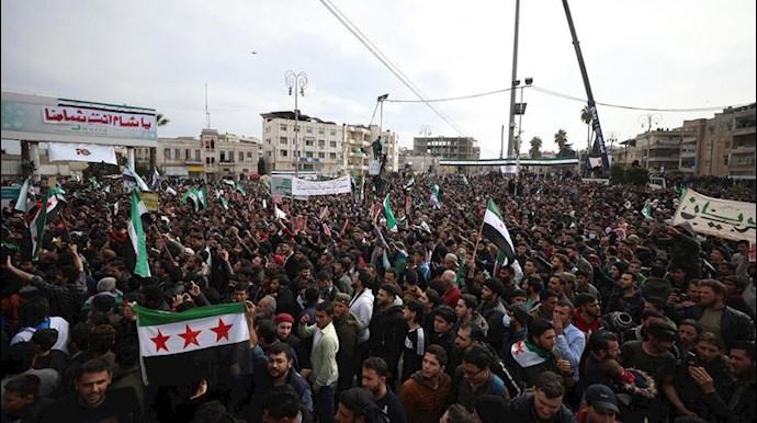 تظاهرات مخالفان اسد در ادلب