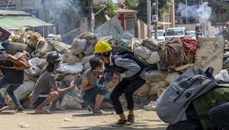 درگیری مردم میانمار با کودتاگران