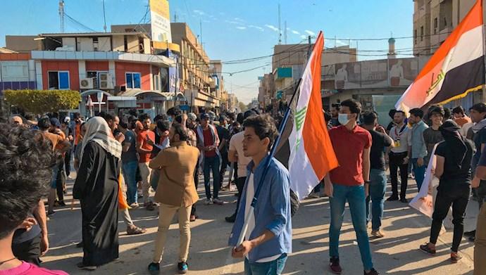 تظاهرات قیام کنندگان عراقی در استان المثنی عراق