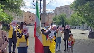 تظاهرات علیه حضور ظریف وزیر خارجه رژیم تروریستی آخوندی در ایتالیا