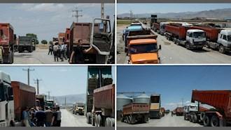 تجمع اعتراضی رانندگان کامیونهای کمپرسی در اراک