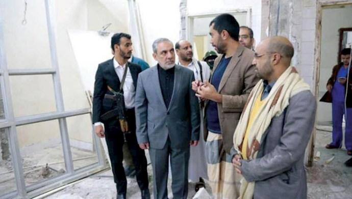 دیدار پاسدار حسن ایرلو سفیر رژیم از بیمارستانی در صنعا