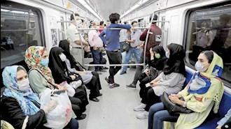 ازدحام در مترو تهران در شرایط شیوع کرونا