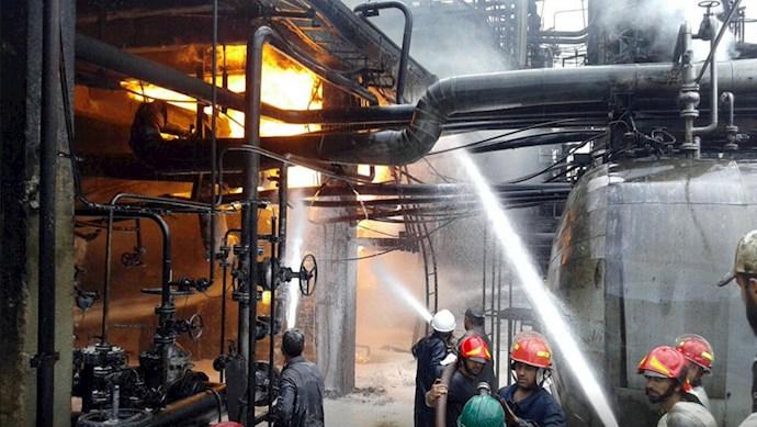 آتشسوزی در پالایشگاه اصلی حمص