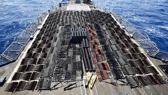 محموله اسلحهای که در دریای عرب توقیف شد