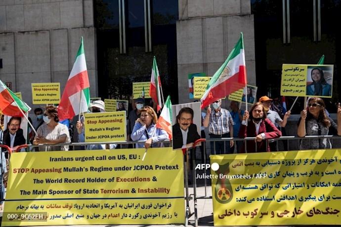 خبرگزاری فرانسه: تظاهرات حامیان شورای ملی مقاومت در بروکسل همزمان با اجلاس سران ناتو - 7