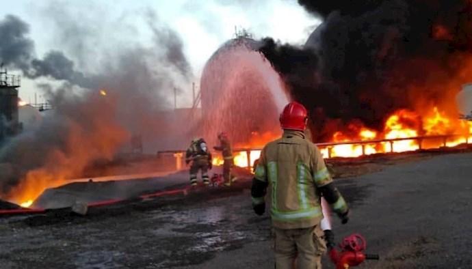 آتش سوزی درپالایشگاه تهران