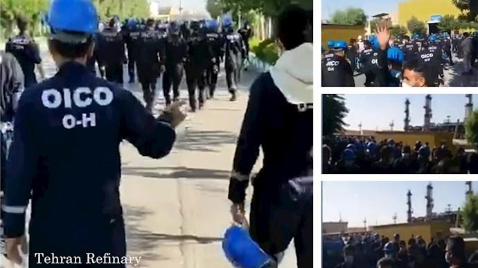 پالایشگاه نفت تهران - اعتصاب کارگران پیمانی در اعتراض به پایین بودن حقوق و پاسخ نگرفتن مطالباتشان - اول تیر ۱۴۰۰