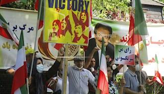 تظاهرات حامیان شورای ملی مقاومت ایران مقابل سفارت رژیم در برلین