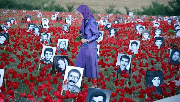 بازدید خانم مریم رجوی از یادواره سربداران سال ۶۷ و فراخوان به محاکمه بینالمللی خامنهای، رئیسی و اژهای به جرم نسلکشی و جنایت علیه بشریت - 3