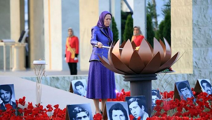 بازدید خانم مریم رجوی از یادواره سربداران سال ۶۷ و فراخوان به محاکمه بینالمللی خامنهای، رئیسی و اژهای به جرم نسلکشی و جنایت علیه بشریت - 6