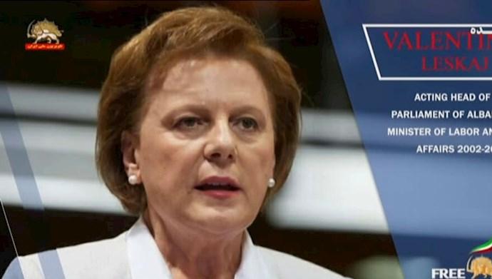 والنتینا لسکای ـ وزیر کار (۲۰۰۴) عضو رهبری حزب حاکم سوسیالیست آلبانی