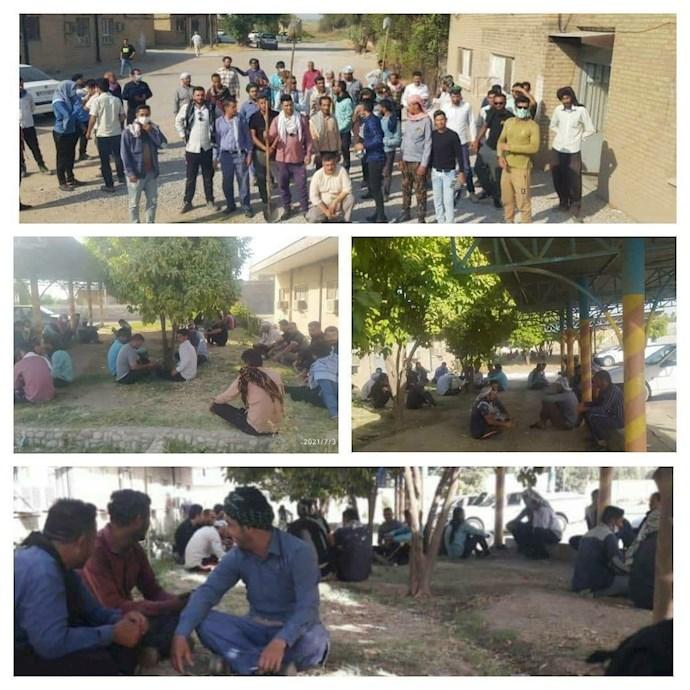 -ادامه تجمع اعتراضی کارگران دفع آفات شرکت نیشکر هفتتپه
