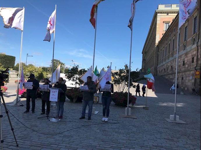 تظاهرات ایرانیان آزاده و بستگان مجاهدان سربهدار مقابل پارلمان سوئد -۹شهریور - 5