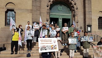 تظاهرات هواداران مجاهدین در دومین روز از محاکمه حمید نوری از دژخیمان قتلعام ۶۷ در استکهلم - ۲۰مرداد۱۴۰۰
